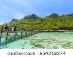 Small photo of SABAH, MALAYSIA - APR 23, 2017:Coras reef and islands seen from the jetty of Bohey Dulang Island, Sabah, Malaysia.