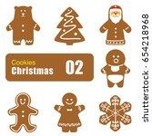 gingerbread man cookies ... | Shutterstock .eps vector #654218968