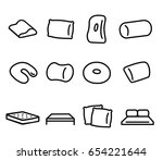 bedding and pillow vector icons ... | Shutterstock .eps vector #654221644