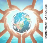 world water day concept  heart... | Shutterstock . vector #654228658