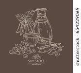 soy sauce  a bottle of soybean  ... | Shutterstock .eps vector #654229069
