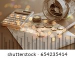double exposure of graph and ...   Shutterstock . vector #654235414