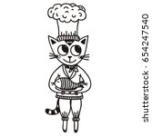 cat with fish. vector...   Shutterstock .eps vector #654247540