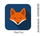 red fox cartoon face  flat icon ... | Shutterstock .eps vector #654248320