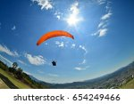 para glider in sunny day flying ... | Shutterstock . vector #654249466