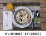 breakfast with eggs bacon juice ... | Shutterstock . vector #654250510