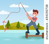 fishing cartoon illustration... | Shutterstock .eps vector #654250738