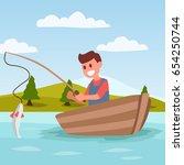 fishing cartoon illustration...   Shutterstock .eps vector #654250744