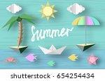summer paper applique of... | Shutterstock .eps vector #654254434