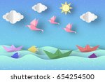 cut birds  ships  palm tree ... | Shutterstock .eps vector #654254500