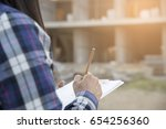 asian woman engineering fill... | Shutterstock . vector #654256360