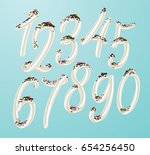 white cream swirl numbers set.... | Shutterstock .eps vector #654256450