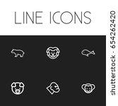 set of 6 editable zoo icons....
