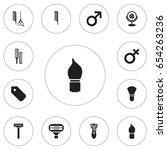 set of 12 editable barber icons....