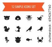 set of 12 editable zoology...   Shutterstock .eps vector #654267760