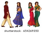 indian fashion set. vector... | Shutterstock .eps vector #654269350