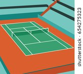 normal tennis court vector... | Shutterstock .eps vector #654275323