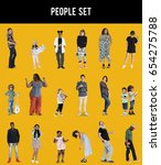 diverse of people enjoy music... | Shutterstock . vector #654275788