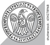 design of raven in celtic ... | Shutterstock .eps vector #654278968