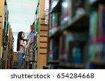 woman students are a handful of ... | Shutterstock . vector #654284668