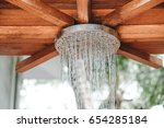 close up open outdoor rain... | Shutterstock . vector #654285184