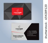 business card template. red and ... | Shutterstock .eps vector #654289120