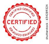 grunge red certified round...   Shutterstock .eps vector #654289324