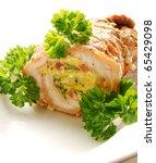 detail of stuffed turkey meat... | Shutterstock . vector #65429098