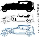 antique retro car vector 05 | Shutterstock .eps vector #654293254