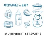 vector set of icons for baby... | Shutterstock .eps vector #654293548