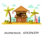 beach bar cocktails in tropical ... | Shutterstock .eps vector #654296359