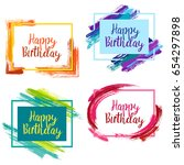 happy birthday borders with... | Shutterstock .eps vector #654297898