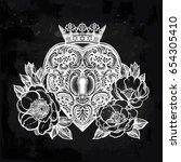 ornate mystic key hole inside... | Shutterstock .eps vector #654305410