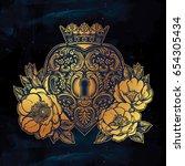 ornate mystic key hole inside... | Shutterstock .eps vector #654305434