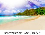 photo of a tropical beach on... | Shutterstock . vector #654310774