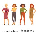 set of fashionable young women... | Shutterstock .eps vector #654312619