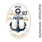 anchor. vintage label with an... | Shutterstock .eps vector #654312946