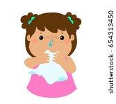 sick girl runny nose vector... | Shutterstock .eps vector #654313450