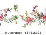 watercolor painting of leaf and ... | Shutterstock . vector #654316336
