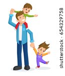 father with children | Shutterstock .eps vector #654329758
