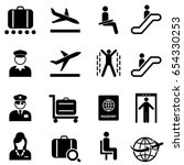 airport and air travel icon set | Shutterstock .eps vector #654330253