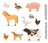 different domestic animals on... | Shutterstock .eps vector #654332050