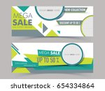 mega sale website header or... | Shutterstock .eps vector #654334864