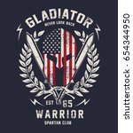 gladiator illustration  vector | Shutterstock .eps vector #654344950