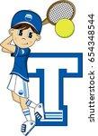 t is for tennis | Shutterstock .eps vector #654348544