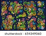 colorful vector hand drawn... | Shutterstock .eps vector #654349060
