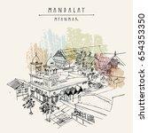 mosque in mandalay  myanmar ...   Shutterstock .eps vector #654353350