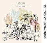 bagan  myanmar  burma . ancient ... | Shutterstock .eps vector #654353356