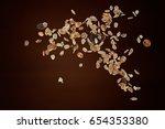 muesli flying or dropping... | Shutterstock . vector #654353380