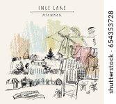 village market on inle lake ... | Shutterstock .eps vector #654353728